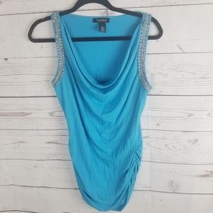 WHBM Blue Beaded Tank Womans Medium Ruched sides